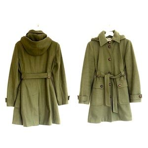 J Crew Army Green Hooded Lady's Wool Trench Coat